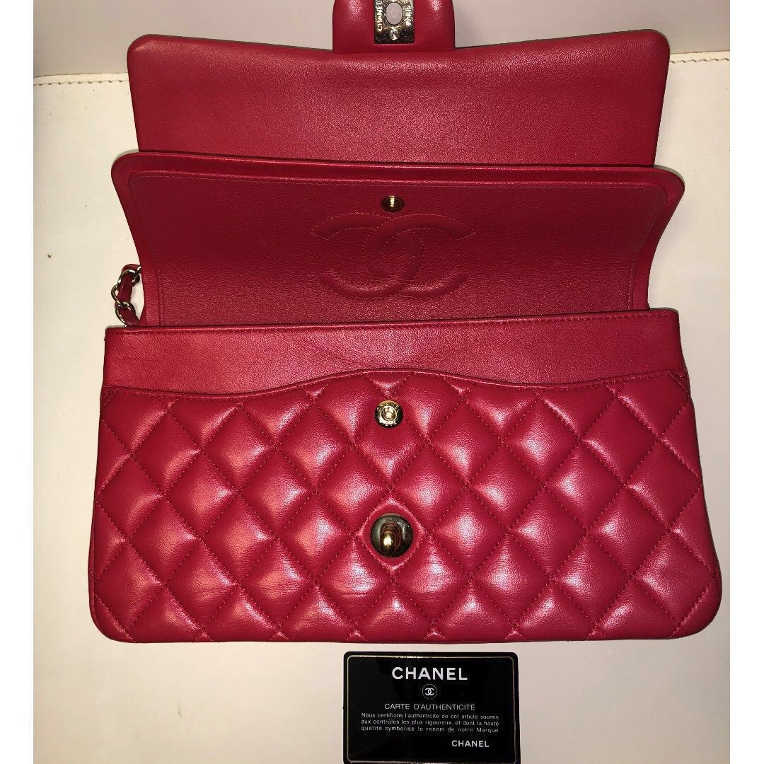 81fdb4b4a7fd Chanel Vintage Red Quilted Lambskin Large Classic Double Flap Bag ...