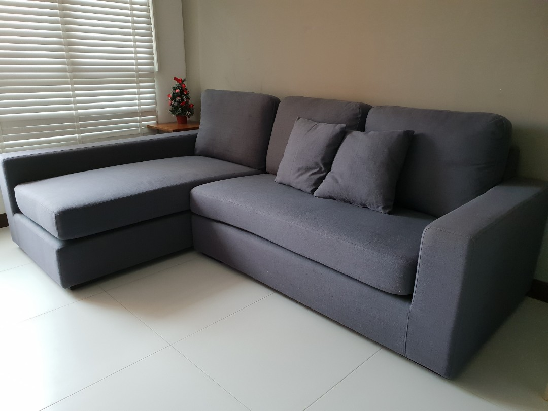 Grey L-shape sofa, Furniture, Sofas on Carousell