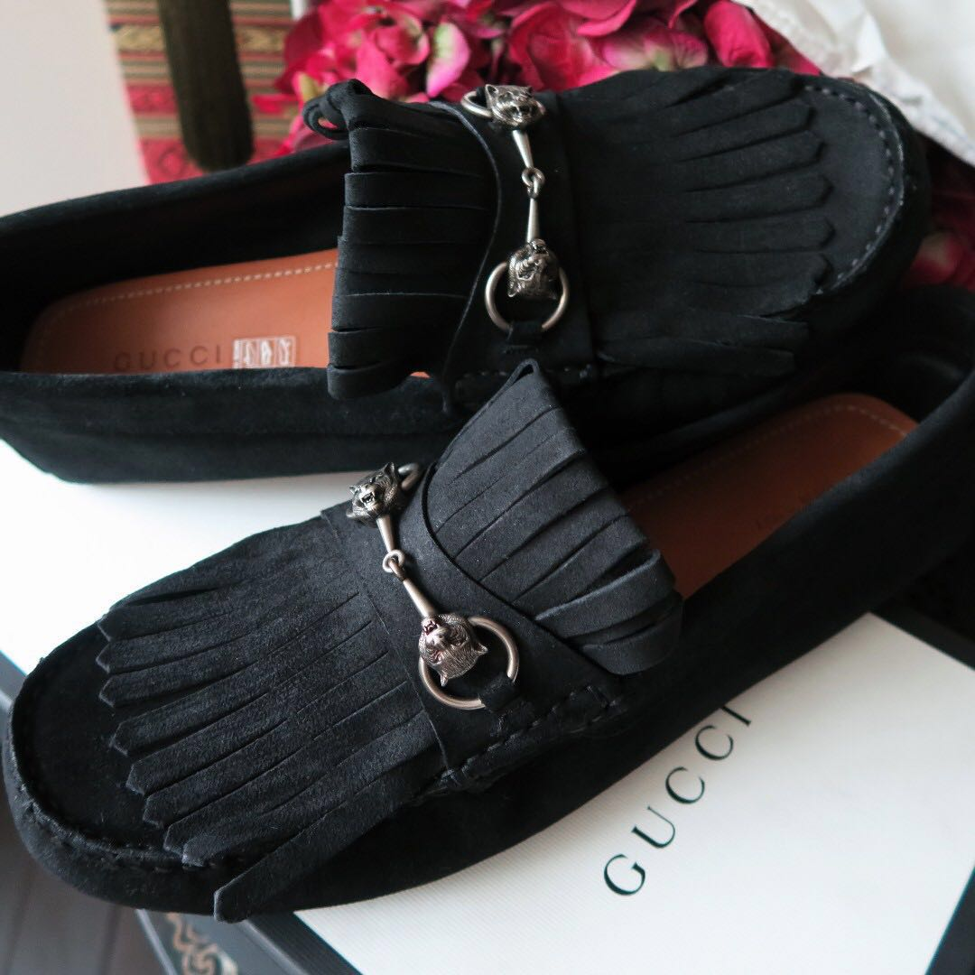 581183331c1 Gucci Angry Cat Horsebit Fringe Queen Nero Moccasin Driving Loafer ...
