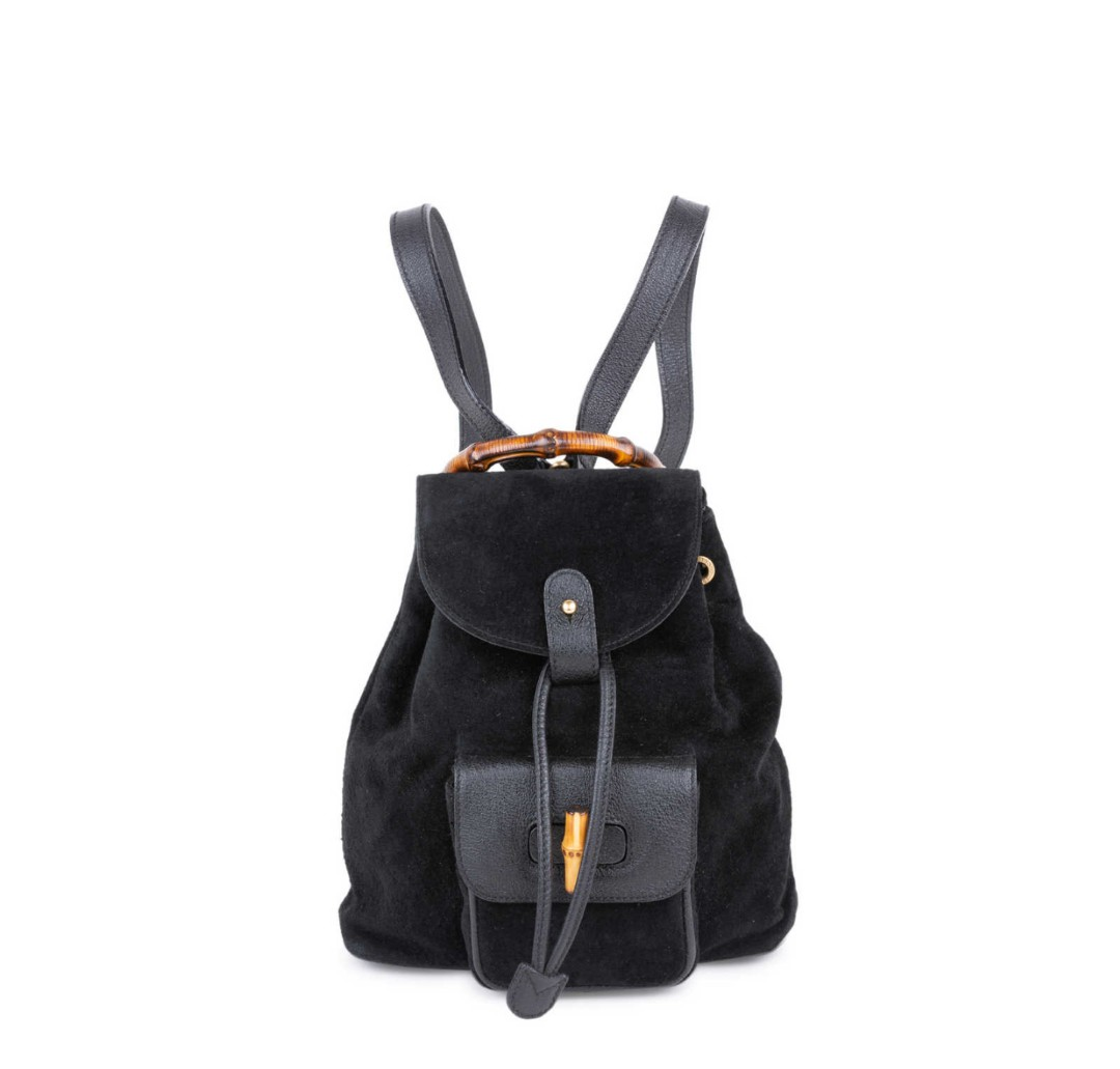 Gucci Suede Mini Bamboo Backpack