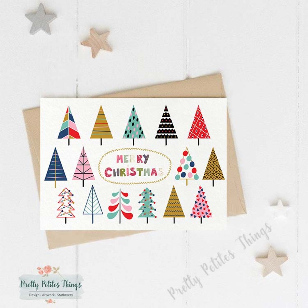 Handcrafted Christmas Card Christmas Trees Illustration Design