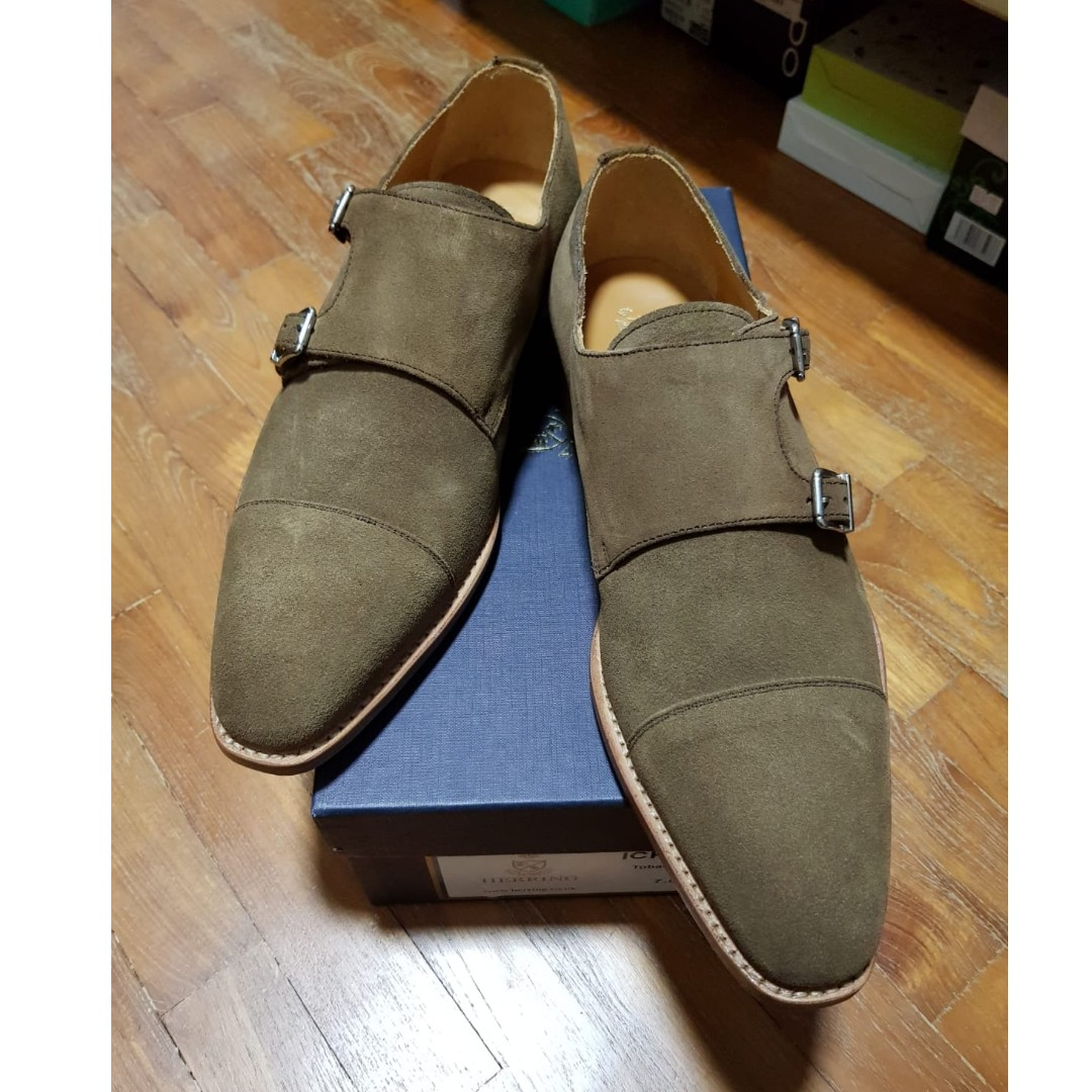 30255844f509 Herring Shoes Ickford Tobacco Suede Double Monks Goodyear Welted ...