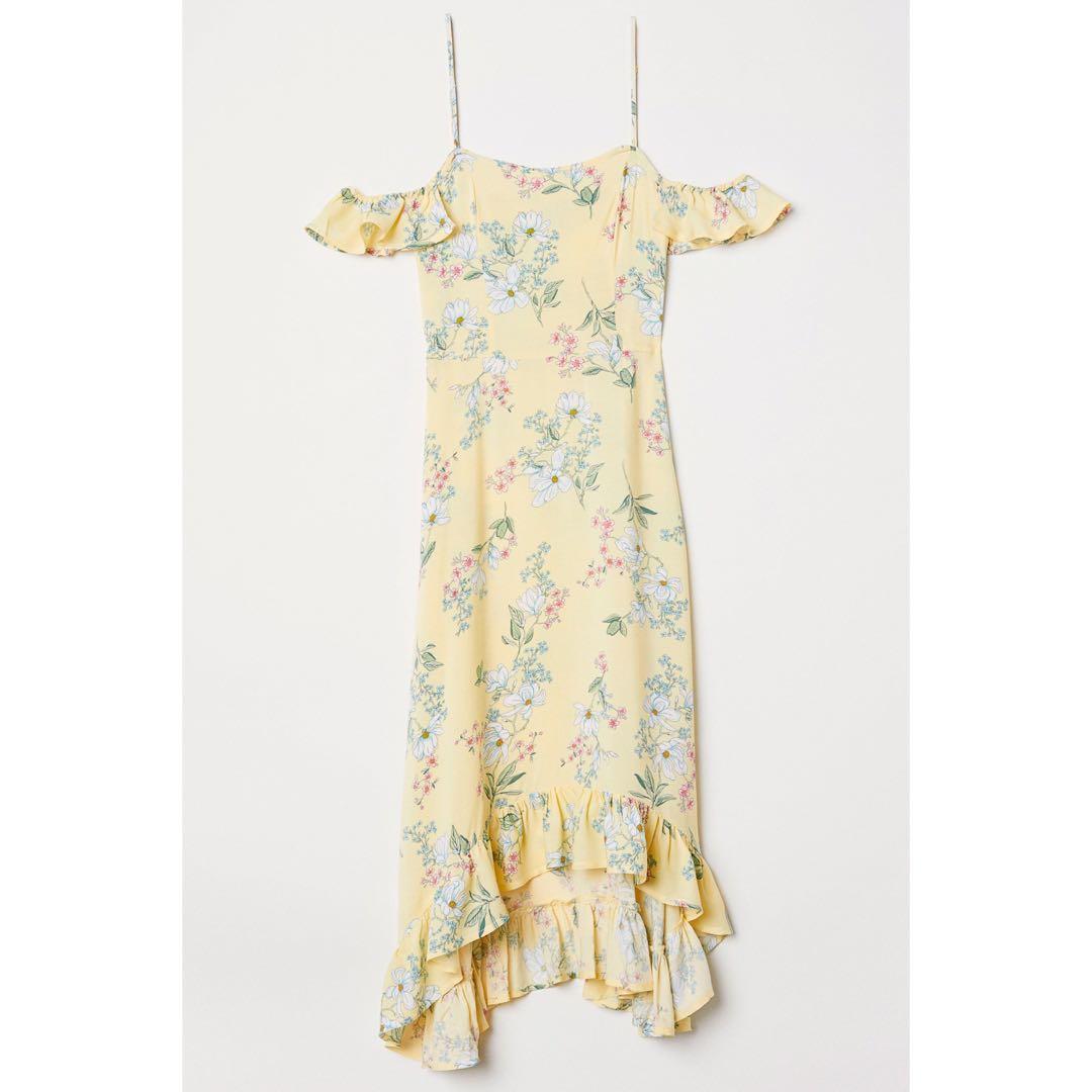 220b8daa700d5 H&M Yellow Floral Cold Shoulder Maxi Dress, Women's Fashion, Clothes ...