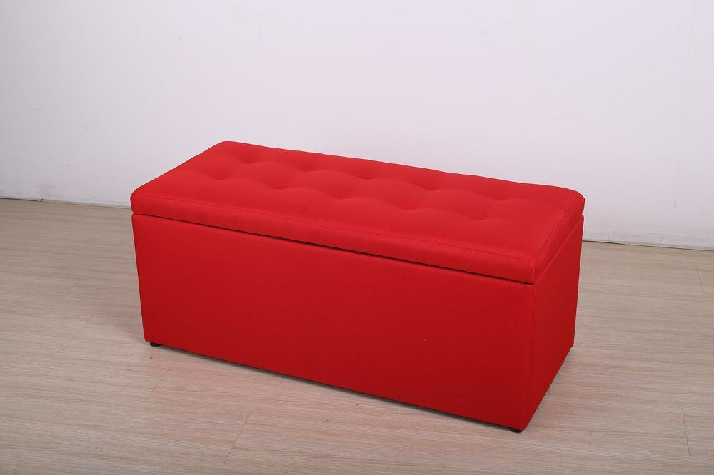 Large Fabric Ottoman Red Storage Bench, Storage Bench Red