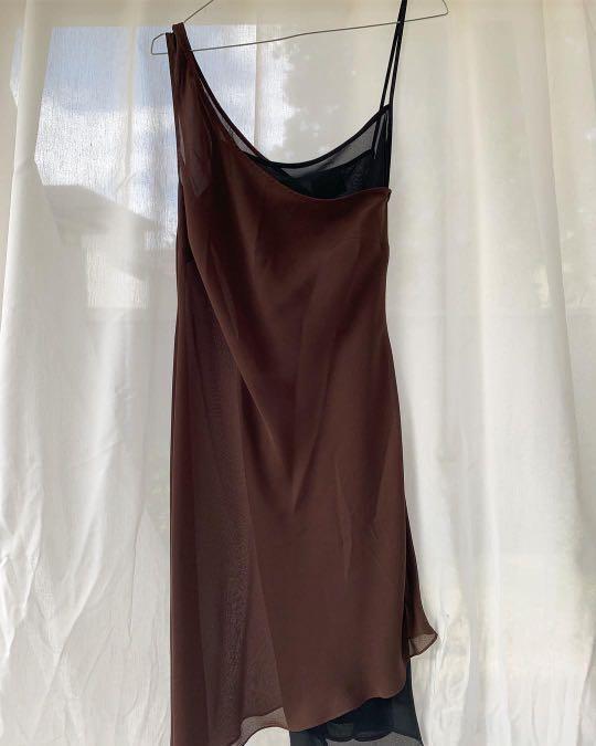 Miss shop slinky vintage brown and black layered dress with off the shoulder details