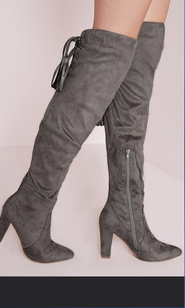 4a67b1489467 Missguided Grey over the knee Faux Suede Boot Size EUR 41, Women's ...
