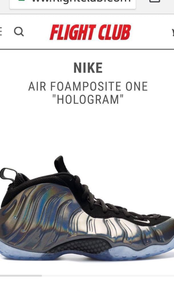 """the best attitude bdcfd ecb6e Nike Air Foamposite One """"Hologram"""", Men s Fashion, Footwear, Sneakers on  Carousell"""