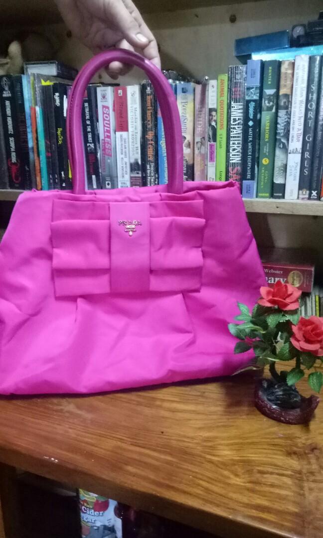 ff24c4f4eb23 Prada Pink Tessuto Bomber Nylon Shoulder Tote Bag (AUTHENTIC with ...