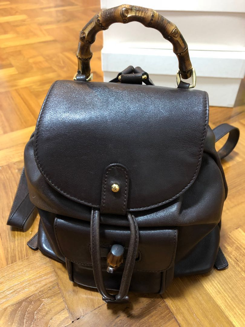 39ff72742581 Price reduced) Gucci Vintage Bamboo Backpack Dark Brown Leather Mini ...