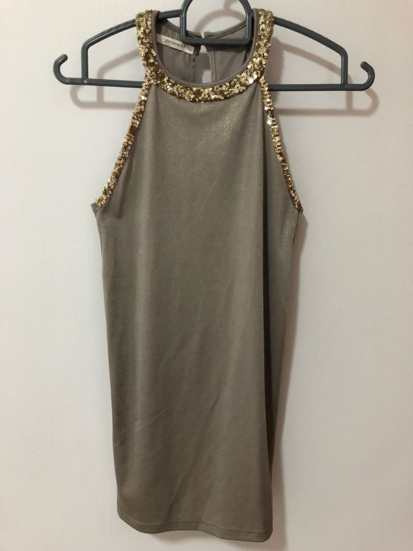 bad7c335c46f0 Promod Olive Metallic Top with Gold Sequins