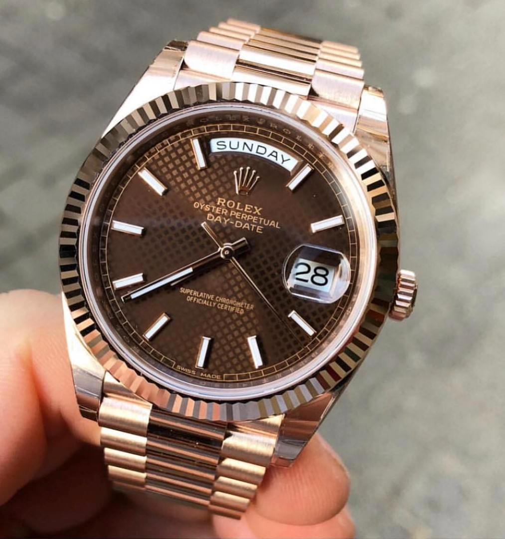 d5fdd3c2c36 Rolex Daydate 228235 Chocolate dial 40 mm Everose gold swiss made luxury  watch, Luxury, Watches on Carousell