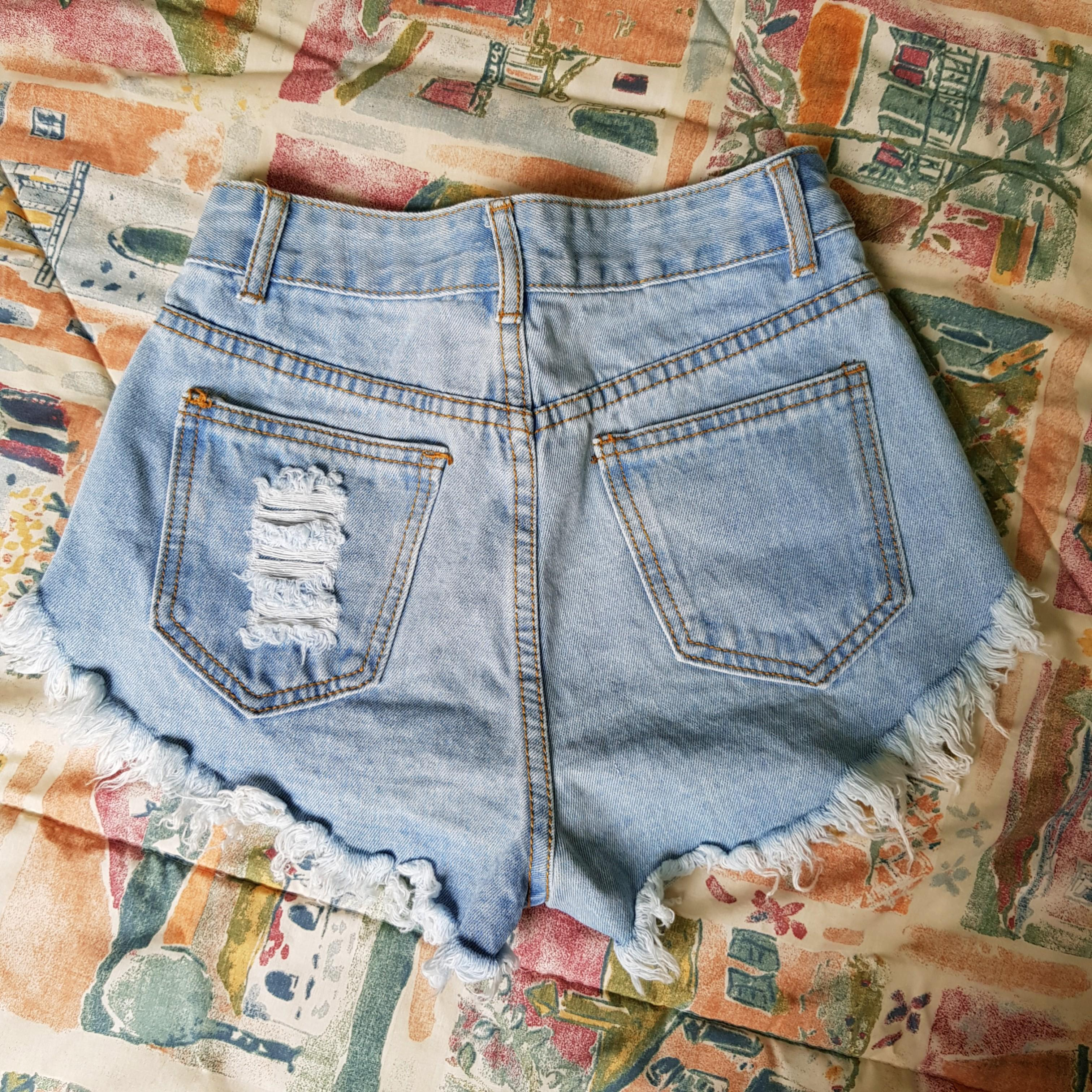 Studded High Waisted Ripped Jeans Shorts