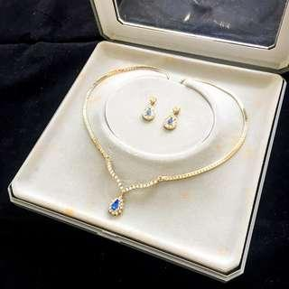 Vintage New In Box PIERRE CARDIN Diamanté & Blue Stone Necklace and Earring Set