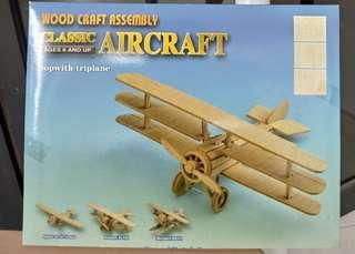 Classic plane aircraft DIY model woodcraft assembly Sopwith triplane