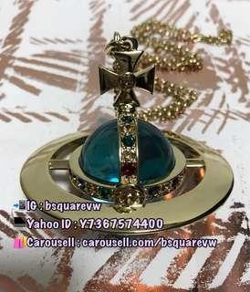 (現貨) 購自英國 WE限量 Vivienne Westwood GIANT ORB 合金 立體藍色水晶球水鑽土星頸鍊 項鏈 (保証正貨及全新) 金色彩鑽