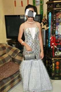 Silver backless gown for rent