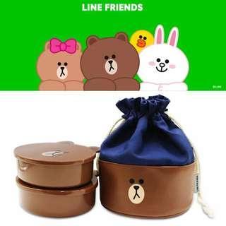 韓國正品LINE布朗熊雙層便當盒飯盒分格餐盤學生便當盒收納包套裝