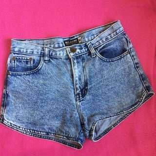Dark acid washed shorts