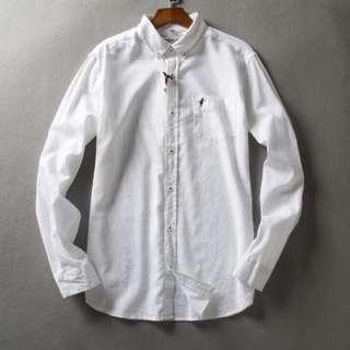 夏天棉麻 男恤衫 men white shirt long sleeve 長袖 尾單 上班襯衣 修身襯衫 L 碼
