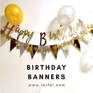 Happy Birthday Banner - Gold / Silver