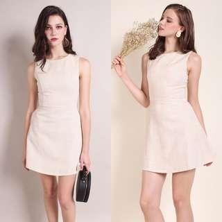 Neonmello Saffron Fit-N-Flare Tweed Work Dress (Beige) S