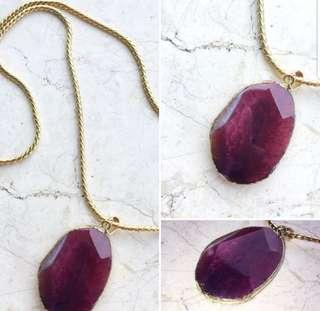 Gold Ruby Violet Stone Necklace