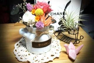 🚚 永生花乾燥花手提小盆-粉白組