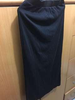 Free Size Black Long Dress 彈性半截長裙 斯文裙99%new $25