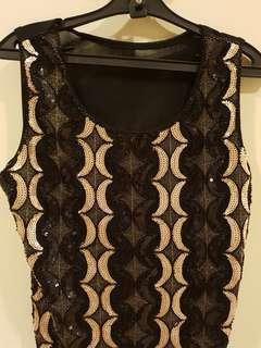 Black Evening Top with black & gold sequins saw-on