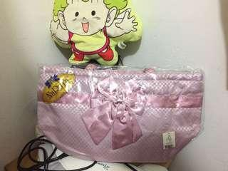 Naraya Authentic Checkered pattern Pink Shoulder Bag HandBag Travel Bag Pouch Clutch NARAYA 正品蝴蝶袋 少女粉 格仔紋