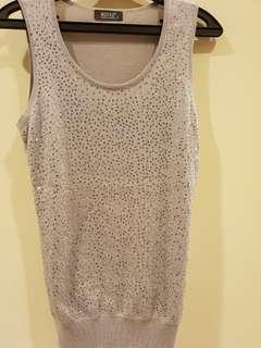Grey Evening Top with silver sequins saw-on