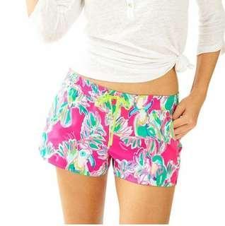 Lilly Pulitzer Luxletic Run Around Short Pants Original Celana Santai Wanita Celana Pendek