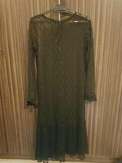 Sheer lace midi dress