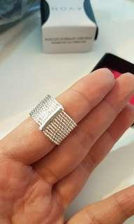 New! contemporary silvertone ring