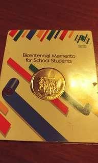 Brass Australian Bicentennial medallion 1988