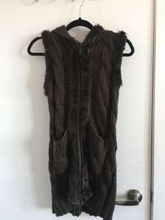 Olive faux fur knitted vest size S-M