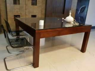 Big dinning table with one drawer on each side