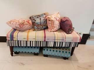 Comfortable bench with thick fabric cushion