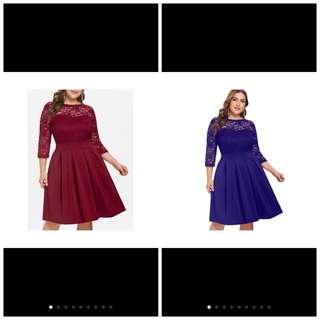 PLUS SIZE Lace Panel Round Neck A Line Dress