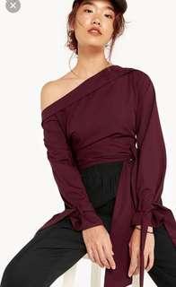 Pomelo red maroon off shoulder