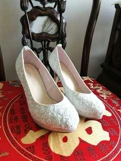 silver White Comfortable High Heels