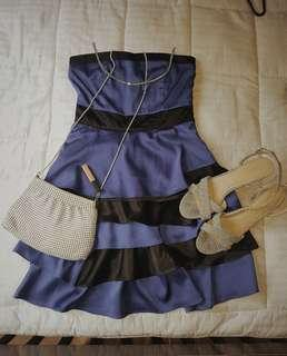 Black and blue satin dress