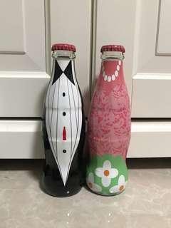 [全新] Coca Cola可口可樂中國2018年情侶限定玻璃瓶可樂(一套兩支)