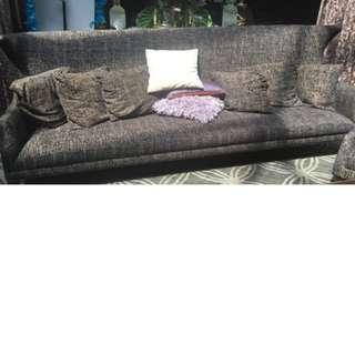 Long Grey Textile Sofa with cushion