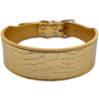 BEAUTIFUL GOLD EMBOSSED LEATHERETTE DOG COLLAR