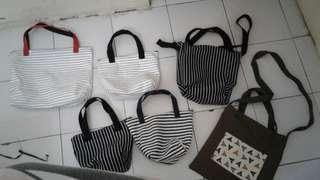 Tas strip putih/ tas makan mini