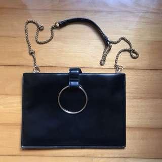 韓國黑色長方形手袋 (兩用) / korea black bag (2 usage )