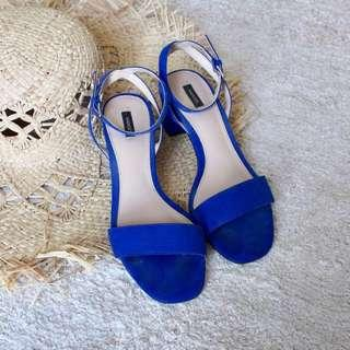 [inc Postage] Mango Blue Heels Size 38 (Preloved)