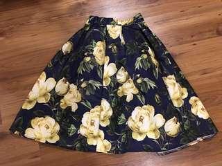 Floral Formal midi Skirt for Weddings Parties Debut