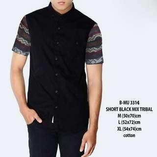 baju kecee - Kemeja Pendek hitam Variasi Songket